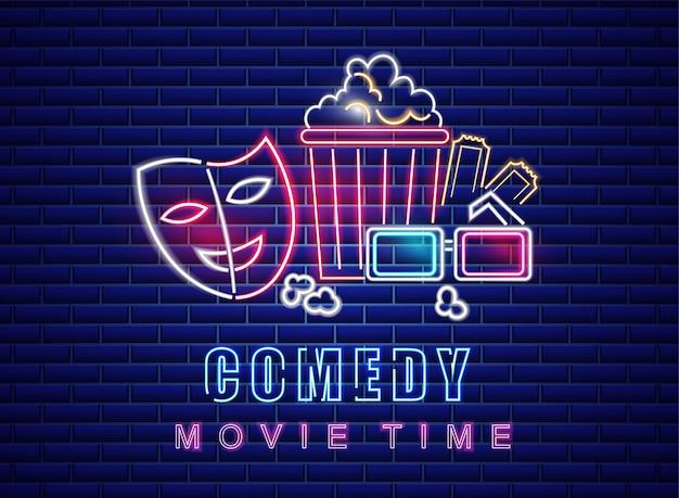 Symbole de néon de film de comédie