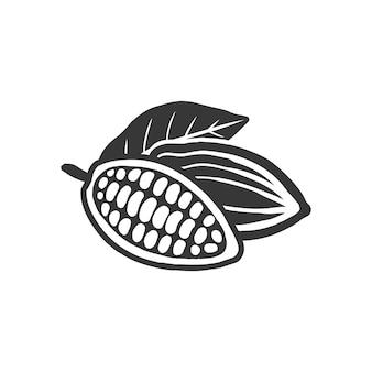 Symbole noir de fèves de cacao. isolé sur blanc.