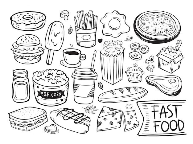 Symbole et objet de doodle de fast-food
