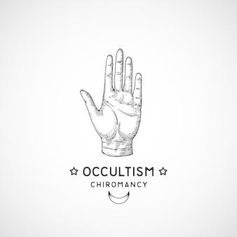 Symbole occulte abstrait, logo de style vintage ou tatouage