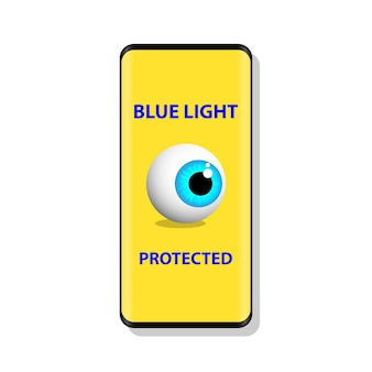 Symbole de l'œil protégé contre la lumière bleue la lumière bleue provoque des problèmes de santé