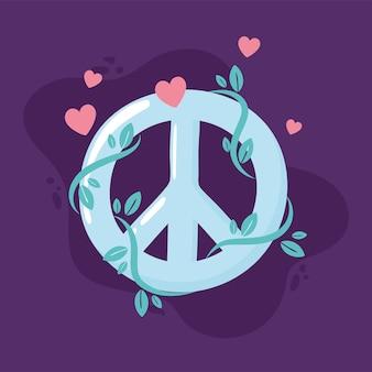 Symbole de paix avec des coeurs