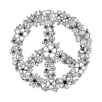 Symbole de paix floral signe de paix fleurs sauvages en forme de symbole de paix