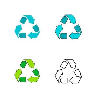 Symbole de recyclage icône logo vecteur vert bleu noir plat dessin animé ligne contour art signe style