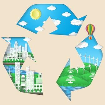 Symbole de recyclage avec la ville écologique verte, panneaux solaires, éoliennes, ciel bleu avec soleil et légers nuages blancs.