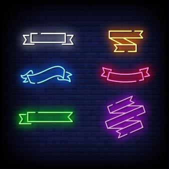 Symbole de rubans style d'enseignes au néon