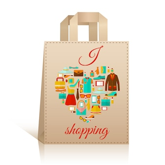 Symbole de sac shopping coeur d'amour