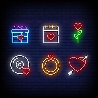 Symbole de la saint-valentin style d'enseignes au néon