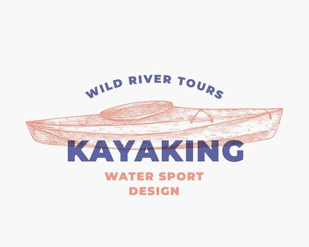 Symbole de signe abstrait de sports nautiques de kayak ou modèle de logo