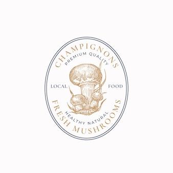 Symbole de signe de cadre abstrait de champignons ou modèle de logo