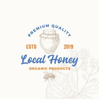 Symbole de signe ou modèle de logo de produit de miel local biologique de qualité supérieure