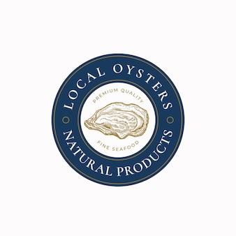 Symbole de signe vectoriel abstrait d'huîtres locales ou modèle de logo croquis de coquille de mollusque dessiné à la main illustra...