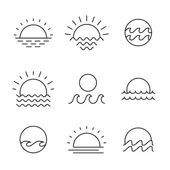 Symbole simple linéaire de soleil et de mer de coucher du soleil ou de lever de soleil