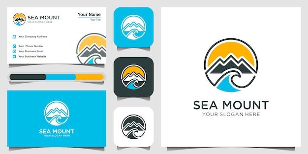 Symbole simple montagne logo avec création de logo d'eau de mer. illustration de style art en ligne. création de logo et carte de visite