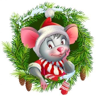 Symbole de souris de l'année 2020 et guirlande de noël de branches de sapin, personnage de rat mignon en bonnet de noel