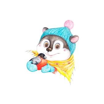 Symbole de la souris de l'année, illustration d'hiver, aquarelle, bouvreuil