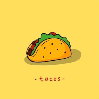 Symbole tacos médias sociaux post food illustration vectorielle