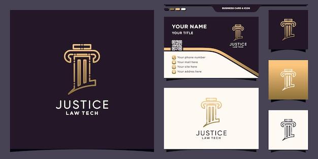 Symbole de la technologie de conception de logo de la loi avec un style de dessin au trait et la conception de cartes de visite vecteur premium