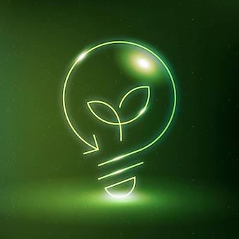 Symbole de technologie propre de vecteur d'icône d'ampoule environnementale