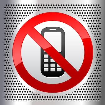 Symbole de téléphone mobile sur une feuille métallique