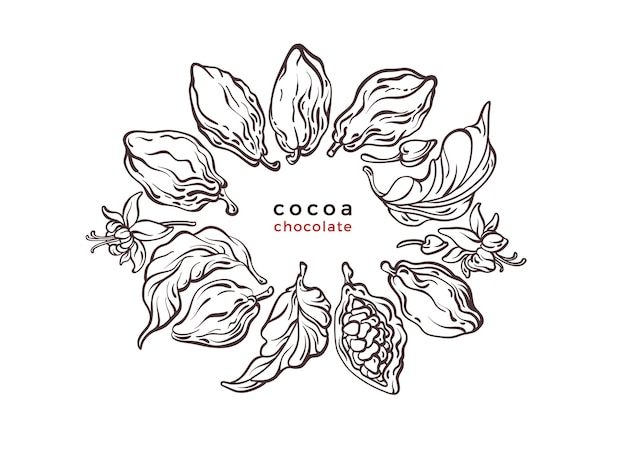 Symbole de texture cacao choco branche d'arbre haricot fruits étiquette graphique