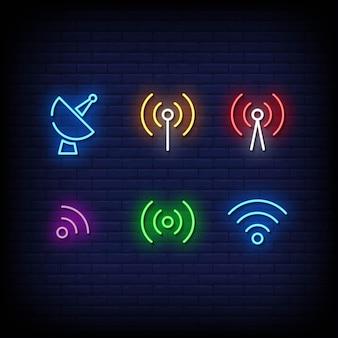 Symbole de la tour radio dans le style des enseignes au néon