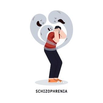 Symbole de trouble mental de schizophrénie un personnage de l'homme souffrant de frustration psychologique