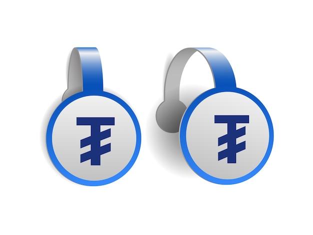 Symbole de tugrik mongol sur les wobblers publicitaires bleus. conception d'illustration du signe de la monnaie de la mongolie sur l'étiquette de la bannière. symbole de l'unité monétaire. illustration isolé sur fond blanc