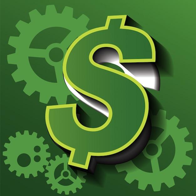 Symbole de vecteur d'entreprise sont l'argent et les engins.