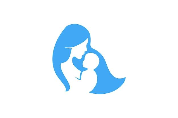 Symbole de vecteur de logo de maman et de bébé. maman embrasse son modèle de logo enfant.