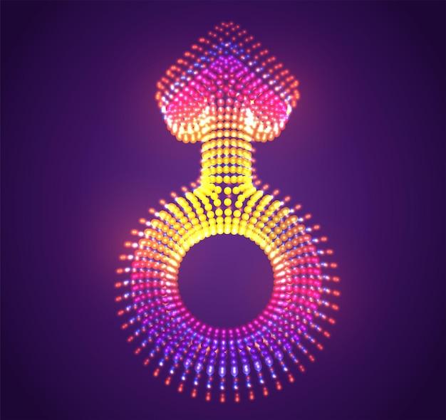 Symbole vecteur de points lumineux sur fond violet