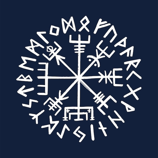 Symbole de vegvisir. boussole nordique antique