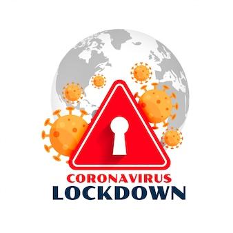 Symbole de verrouillage global du coronavirus avec des cellules virales