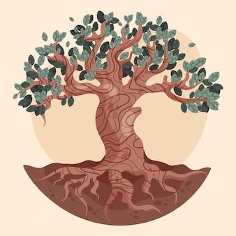 Symbole de vie arbre dessiné à la main