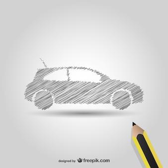 Symbole de voiture de dessin au crayon