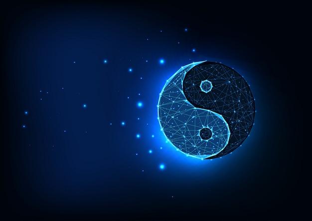 Symbole de yin yang polygonal faible brillant futuriste isolé sur fond d'espace bleu foncé.