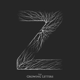 Symbole z composé de lignes blanches en croissance