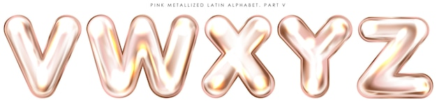 Symboles alphabet gonflés en feuille rose perl, lettres isolées vwxyz