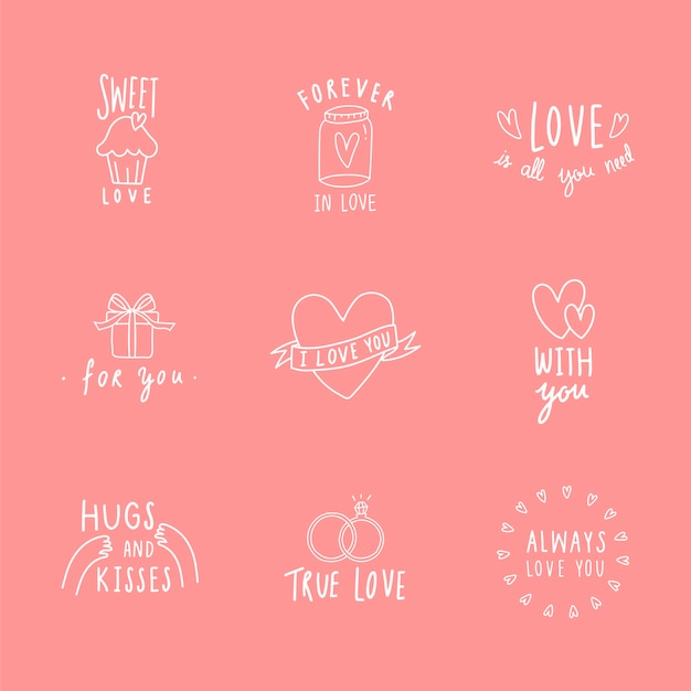 Symboles de l'amour icon set vector