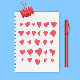 Symboles d'amour de signe de coeur dessinés à la main mis en icône doodle illustration