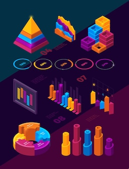 Symboles d'analyse infographique isométrique barres de panneaux de style néon holographique