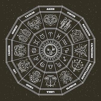 Symboles de l'astrologie et signes mystiques. cercle du zodiaque avec signes de l'horoscope. ligne fine .
