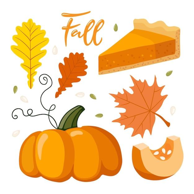 Symboles d'automne tarte à la citrouille citrouille automne feuilles rouges lettrage caligraphie automne humeur d'automne