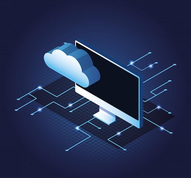 Symboles bleus de la technologie numérique