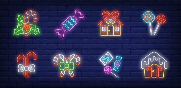 Symboles de bonbons de noël dans un style néon