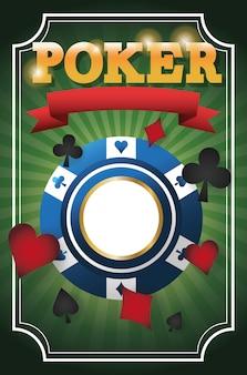 Symboles de cartes et icône de la puce. casino de poker et thème las vegas.