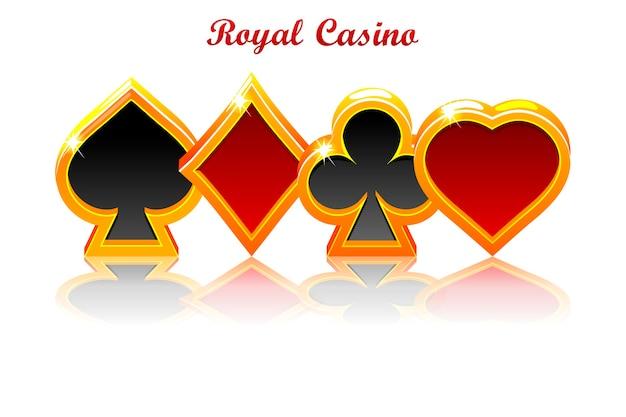 Symboles de cartes à jouer sertis de réflexion
