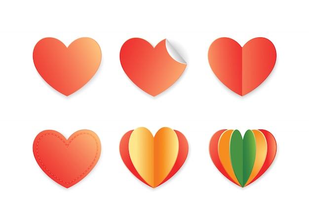 Symboles de coeur dans le style d'art de papier.