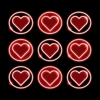 Symboles de coeur de néon
