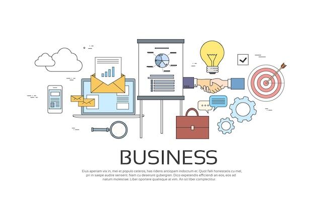 Symboles commerciaux succès idée thin line concept